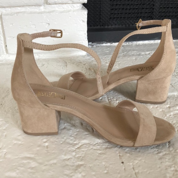 6fe5dcfc7 Brash Shoes - Nude suede low block heel sandals